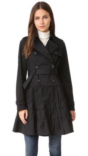 Пальто-тренч с оборками RED Valentino. Цвет: голубой