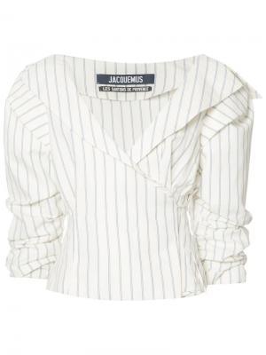 Striped ruffled-sleeve blouse Jacquemus. Цвет: белый