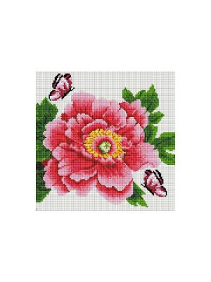 Мозаика на подрамнике. Розовый цветок и бабочки (333-ST-S) Белоснежка. Цвет: белый