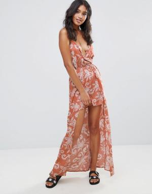 Parisian Платье макси с принтом пейсли. Цвет: красный