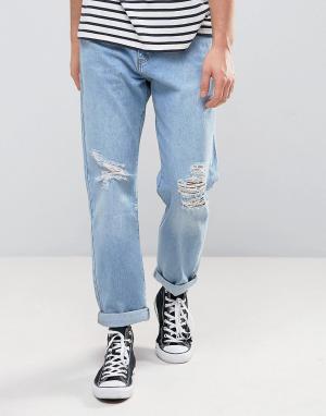 Zeffer Выбеленные расклешенные джинсы цвета светлого индиго. Цвет: синий