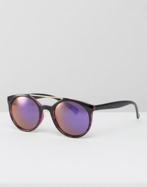 Jeepers Peepers Круглые солнцезащитные очки с голубыми стеклами. Цвет: фиолетовый