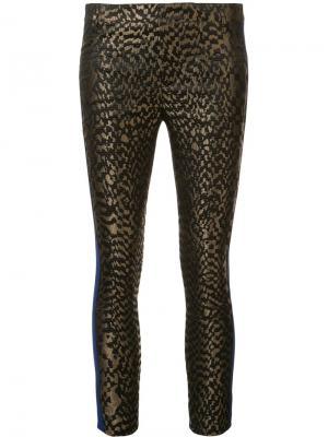Жаккардовые брюки с контрастными полосками Haider Ackermann. Цвет: зелёный