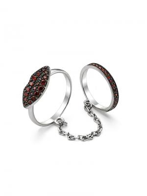 Стильное кольцо на две фаланги KU&KU. Цвет: бордовый, красный, серебристый