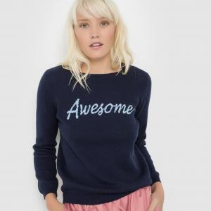 Пуловер с надписью и круглым вырезом PIERRICK SUNCOO. Цвет: черный