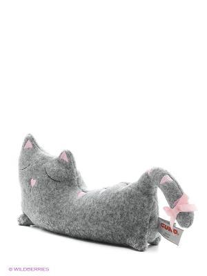 Игрушка мягкая (Kiku Cat Doorstopper, 15 см). Gund. Цвет: серый