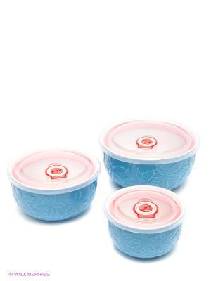 Набор контейнеров, 3 шт. Bekker. Цвет: голубой