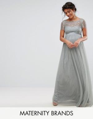 Little Mistress Maternity Платье макси для беременных с кружевным лифом Maternit. Цвет: серый