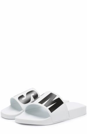 Резиновые шлепанцы с логотипом бренда MSGM. Цвет: белый