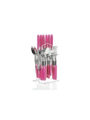 Набор столовых приборов на подставке Floret 24предмета Elff Ceramics. Цвет: розовый