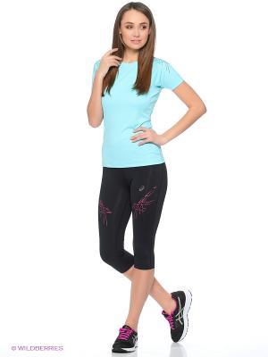 Бриджи ASICS Stripe Knee Tight. Цвет: черный, розовый