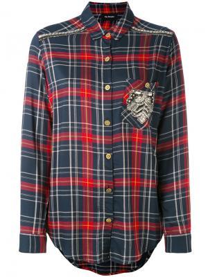 Рубашка в клетку с вышивкой The Kooples. Цвет: красный
