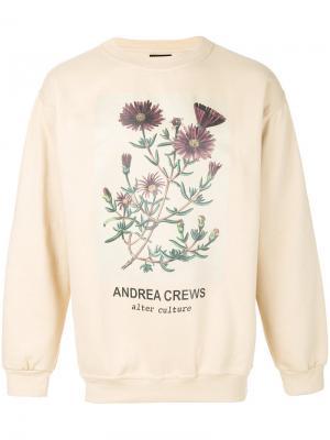 Толстовка с цветочным принтом Andrea Crews. Цвет: телесный