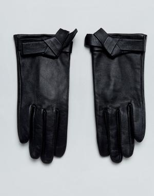 ASOS Кожаные перчатки с бантом. Цвет: черный