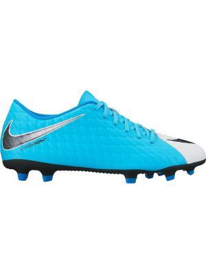 Бутсы HYPERVENOM PHADE III FG Nike. Цвет: голубой, белый, черный