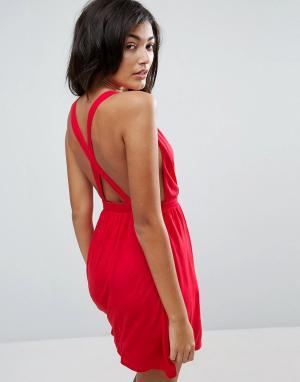 ASOS Пляжное трикотажное платье мини с перекрестной отделкой на спине. Цвет: красный
