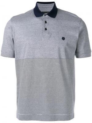 Полосатая рубашка-поло Z Zegna. Цвет: синий