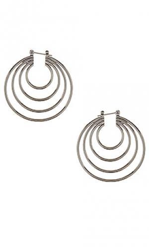 Серьги the multi hoop Luv AJ. Цвет: металлический серебряный