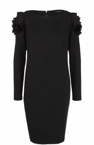 Однотонное мини-платье с оборками и длинным рукавом Pietro Brunelli. Цвет: черный