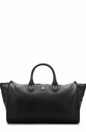 Кожаная дорожная сумка с плечевым ремнем Bertoni. Цвет: черный