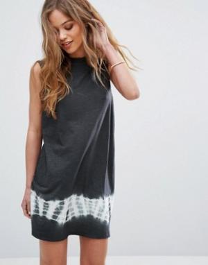 RVCA Свободное платье без рукавов со вставкой тай-дай. Цвет: черный