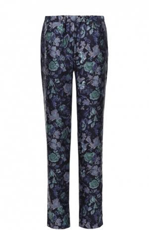 Шелковые брюки прямого кроя с эластичным поясом и цветочным принтом Burberry. Цвет: темно-синий