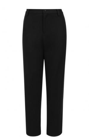 Шерстяные брюки прямого кроя с карманами Yohji Yamamoto. Цвет: черный