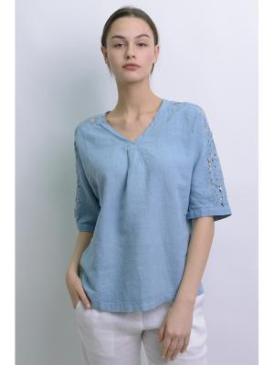 Блуза Кармен LINO RUSSO. Цвет: серо-голубой