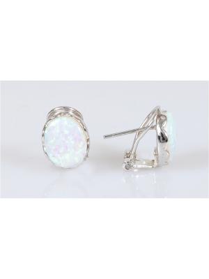 Серьги Lotus Jewelry. Цвет: серебристый, белый
