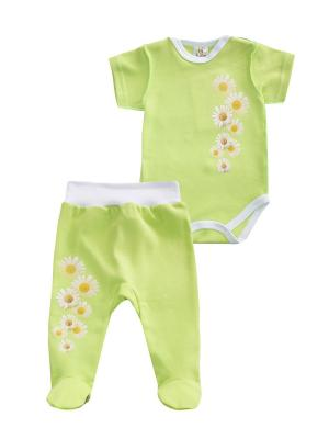 Набор одежды: боди, ползунки Коллекция Ромашки КОТМАРКОТ. Цвет: салатовый