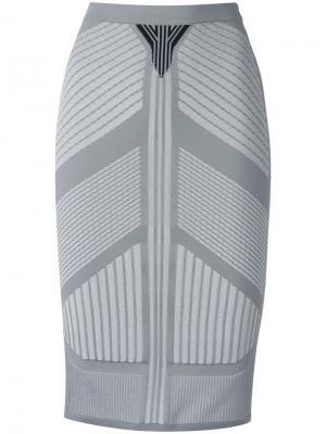 Юбка с вышивкой Prada. Цвет: серый