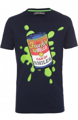 Хлопковая футболка с контрастным принтом Frankie Morello. Цвет: темно-синий