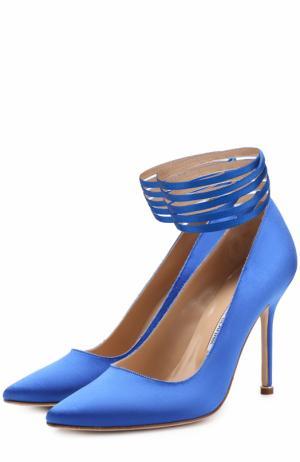 Атласные туфли с ремешками  X Manolo Blahnik Vetements. Цвет: синий