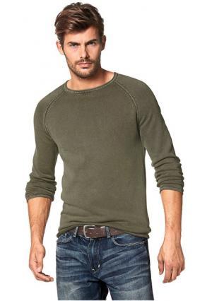 Пуловер. Цвет: оливково-зеленый, оранжево-красный, синий