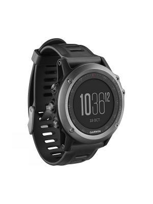 Умные часы Fenix 3 HRM серый с черным ремешком и пульсометром GARMIN. Цвет: черный