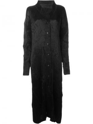 Удлиненное плиссированное пальто Issey Miyake Vintage. Цвет: чёрный