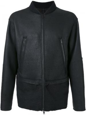 Кожаная куртка-бомбер Isabel Benenato. Цвет: чёрный