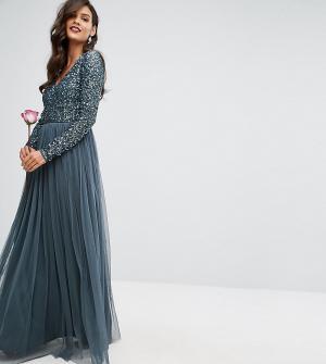 Maya Платье макси с глубоким вырезом, длинными рукавами, пайетками и юбкой. Цвет: синий