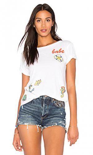 Винтажная футболка с вырезами на подоле croft Lauren Moshi. Цвет: белый