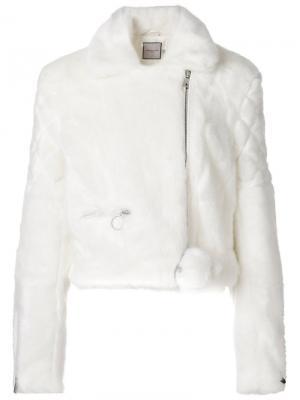 Байкерская куртка из искусственного меха Urbancode. Цвет: белый