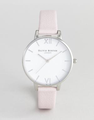 Olivia Burton Часы с розовым кожаным ремешком и белым циферблатом OB16. Цвет: розовый