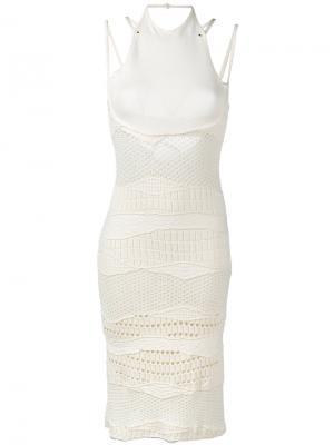 Трикотажное платье крючком Esteban Cortazar. Цвет: телесный