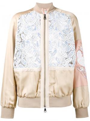 Куртка-бомбер с вышивкой макраме Nº21. Цвет: телесный