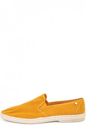 Эспадрильи из перфорированной замши Rivieras Leisure Shoes. Цвет: горчичный