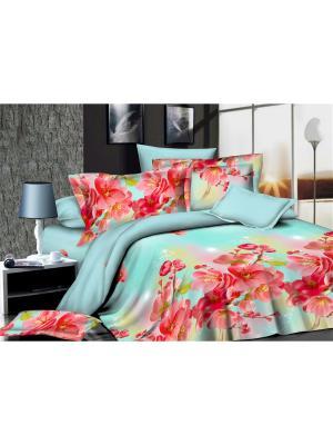 Комплект постельного белья  Семейный ДомВелл сатин СН09 Сакура. Цвет: красный