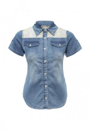 Рубашка джинсовая Kiss Pink. Цвет: синий