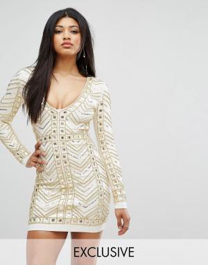 Starlet Золотистое платье мини с глубоким декольте и сплошной отделкой. Цвет: белый