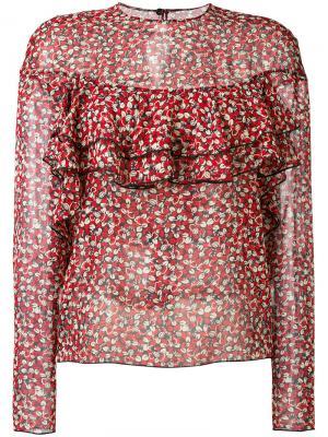 Полупрозрачная блузка с цветочным узором Philosophy Di Lorenzo Serafini. Цвет: красный