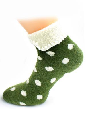 Носки шерстяные HOBBY LINE. Цвет: зеленый