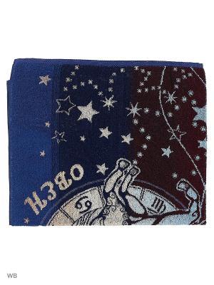 Полотенце махровое пестротканое жаккардовое Овен Авангард. Цвет: синий, белый